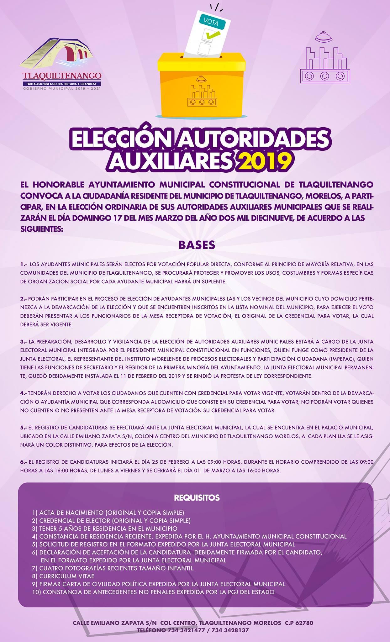 Elección Autoridades Auxiliares 2019