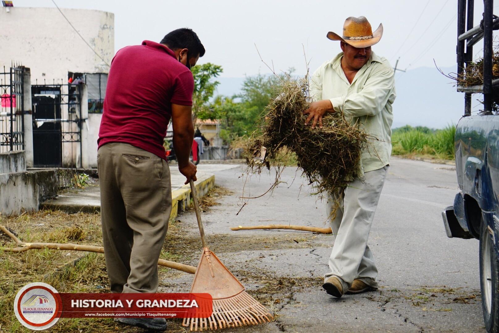 Cuadrillas de Limpieza Atienden Acciones en Mejora de Imagen Urbana en Tlaquiltenango