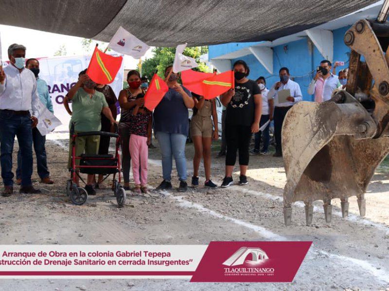 ARRANQUE DE OBRA DE CONSTRUCCIÓN DE DRENAJE SANITARIO EN LA COLONIA GABRIEL TEPEPA