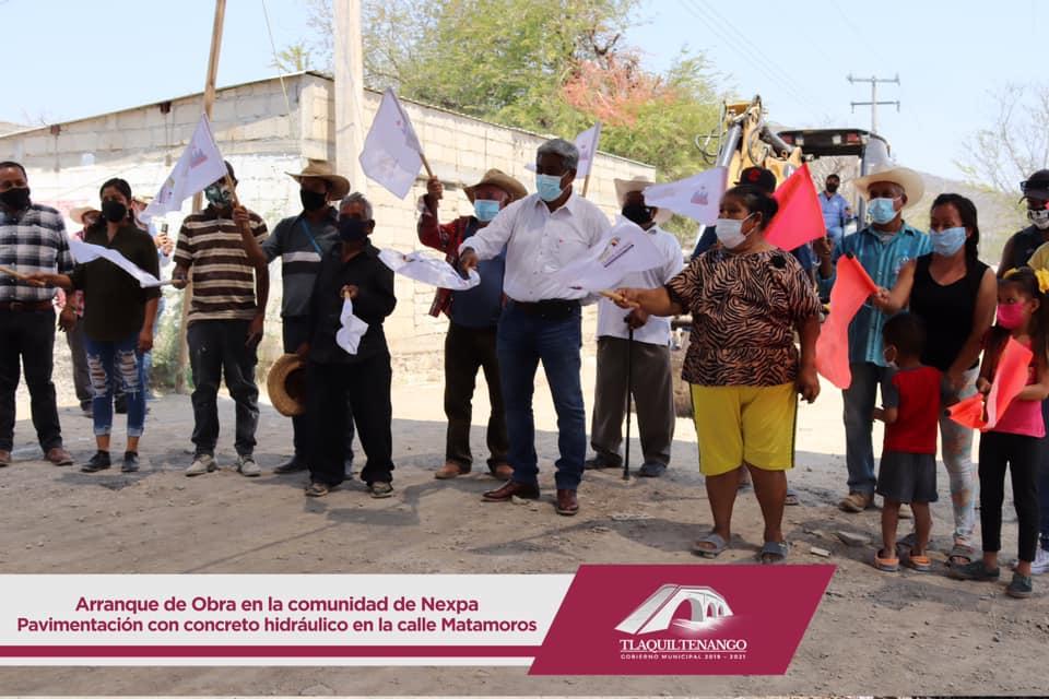 ARRANQUE DE OBRA DE PAVIMENTACIÓN EN LA CALLE MATAMOROS DE LA COMUNIDAD DE NEXPA