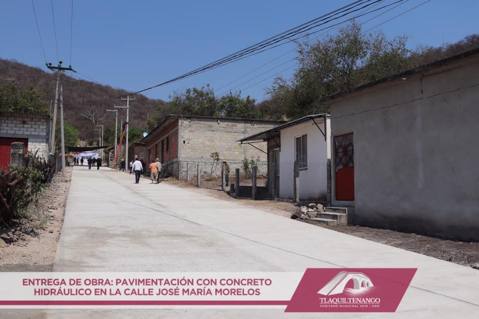 Entrega de Obra de Pavimentacion en la Calle Jose Ma. Morelos en la Comunidad de Valle de Vazquez